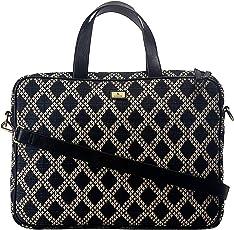 K London Eco-Friendly Black & Beige Jacquard & Vegan Leather Handmade Laptop Bag Cross Over Shoulder Messenger Bag Office Bag (2101_blk_bg)