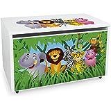 Leomark Coffre de Rangement pour Enfants - JUNGLE- Organisateur à jouets en bois, Conteneur à jouets, banc réglable, sur roul