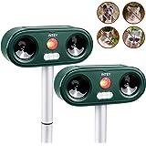 INTEY Cat Repellent Ultrasonic 2PACKS, Outdoor Animal Repeller Deterrent, Adjustable Sensitivity - Different Frequency Bands