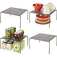 mDesign étagère cuisine – petit rangement cuisine autoportant en métal – range vaisselle avec pieds antidérapants pour…