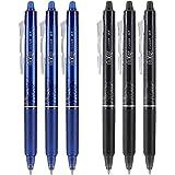 Pilot FriXion Clicker 0.7mm, Erasable Gel Pens, Fine Point (6-Pack, Black/Blue)