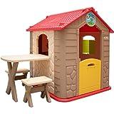 LittleTom Kinderspielhaus inkl. Tisch und 2 Bänken Kunststoff Spielhaus Kinder-Gartenhaus für Drinnen Draußen Beige Braun