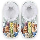Naanle - Pantofole invernali da donna in memory foam con gatti e gatti di Natale, ideali per interni ed esterni, in pile cald