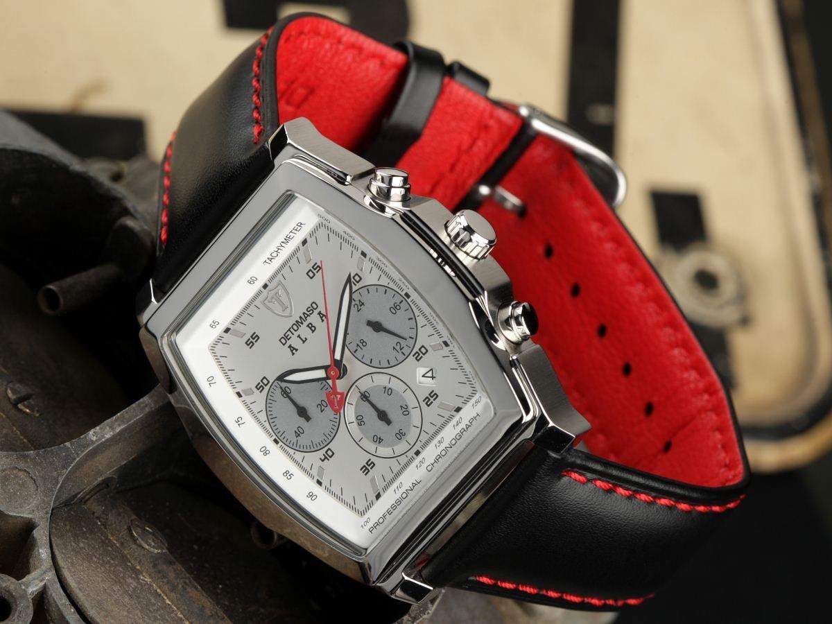 DeTomaso Check – Reloj de Caballero de Cuarzo, Correa de Piel Color