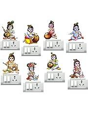 DecorVilla Bal Krishna Switch Board and Wall Sticker (PVC Vinyl, Size: 35 x 22 cm) -Set of 8
