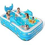 VOXON Piscine pour Enfants, Piscines Gonflables avec Jets 250x180x55cm, Piscines Gonflables pour Enfant avec Jet d'eau pour C