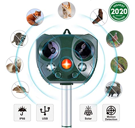 Cat Repellent,Sinohrd Waterproof Ultrasonic Animal Pest Repeller Usb Solar Powered Fox Deterrent Cat Scarer Repellent with PIR Motion Sensor and Flash Light for Outdoor Garden Yard Field Farm