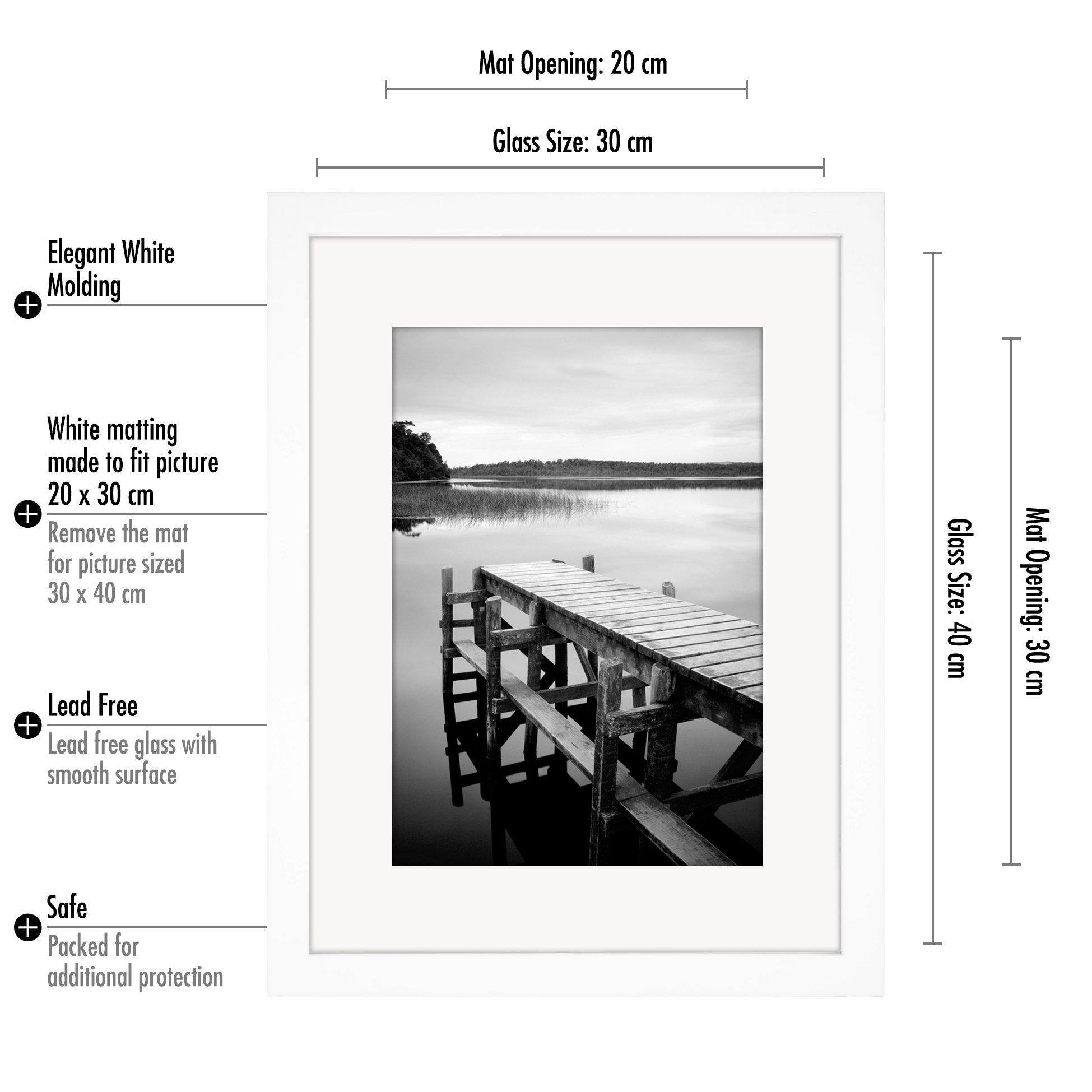 30 x 40cm Weißer Bilderrahmen mit Glasfront - Geeignet für Bilder ...