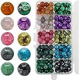 UBERMing Cuentas Redondas de Vidrio 200 Piezas 8mm Cuentas de Cristal Craquelado de 10 Colores para Hacer Pulseras Manualidad