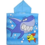 YZCX Asciugamano con Cappuccio in Cotone, Asciugamani da Bagno, Nuoto, Spiaggia, Accappatoi Telo Mare per Bambini (Squalo Blu
