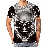 Mens Lovers Skull Printing Tees Shirt Short Sleeve T-Shirt Blouse Tops,Men's Skull Digital Print Round Neck T-Shirt Top T-Shi