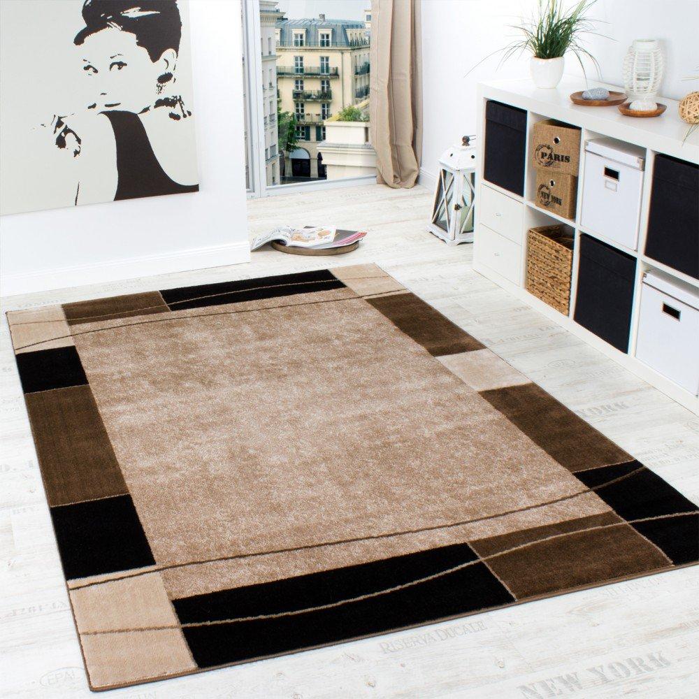 Wohnzimmer modern braun  Designer Teppich Wohnzimmer Teppich Modern Bordüre in Braun Beige ...