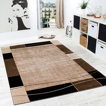 designer teppich wohnzimmer teppich modern bordüre in braun beige ... - Teppich Wohnzimmer Design