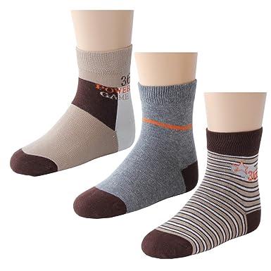 3 paires chaussettes enfant garçon \'Power\' dans marron/gris et ...
