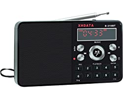 XHDATA D-318BT Portable Pocket Radio Portable and Rechargeable FM Radio MP3 Player Recorder with a Built-in Speaker Black
