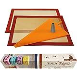kit pâtisserie professionnel 2 tapis de cuisson silicone fibre de verre 40X30 anti adhérent certifié sans BPA ,1 poche réutil