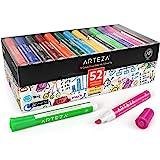 Arteza Whiteboard-markers, Set van 52 whiteboard-stiften (schuine punt), 12 verschillende kleuren met vrijwel reukloze, afwis