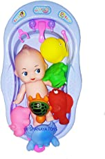 Jiada Non-Toxic Bath Toy Set Bathtub with Baby Doll + 6 Chu Chu Toys - Multicolor