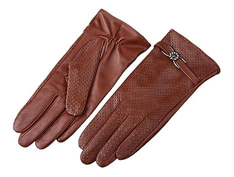 HOMEE Guanti in pelle morbida corta da donna 'S' Fascia classica sottile  3Colori molli sottili perforati: Amazon.it: Sport e tempo libero