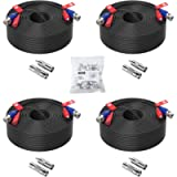 ZOSI 4 Pack 150ft (45 Meters) 2-in-1 Video Power Cable, BNC Extension Surveillance Camera Cables for Video Security…