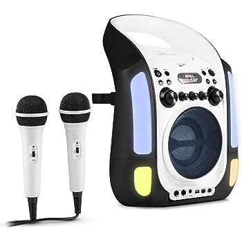 Auna Kara Illumina Karaoke per bambini Kit karaoke 2 dinamici microfoni Lettore CD+G Top laoding capacitá MP3 uscita video usicta audio effetto eco Funzione AVC nero-bianco