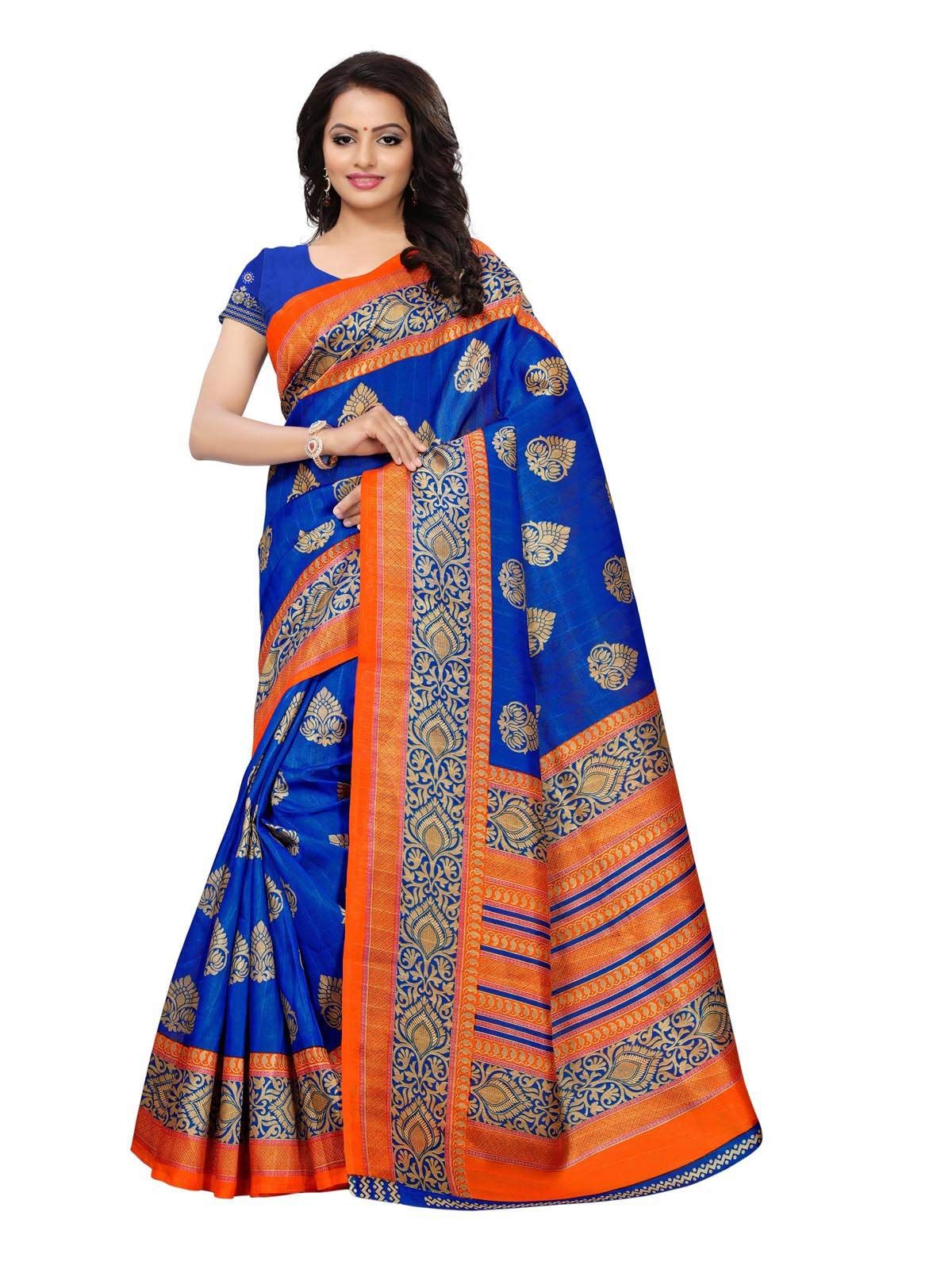 Kanchnar Women's Poly Silk Printed Ethnic Wear Saree