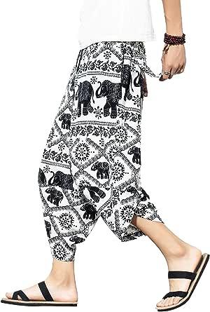BLFGNCOB Men's Casual Cotton Trousers Unisex Loose Elastic Waist Drawstring Baggy Wide Leg Jogger Harem Pants Hip-Hop