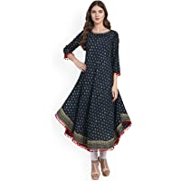 Amayra Women's Cotton Anarkali Kurti (Blue)