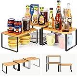 ikkle étagère de cuisine,étagère à épices Bambou,Organisateur de placard de comptoir extensible et empilable pour Organisateu