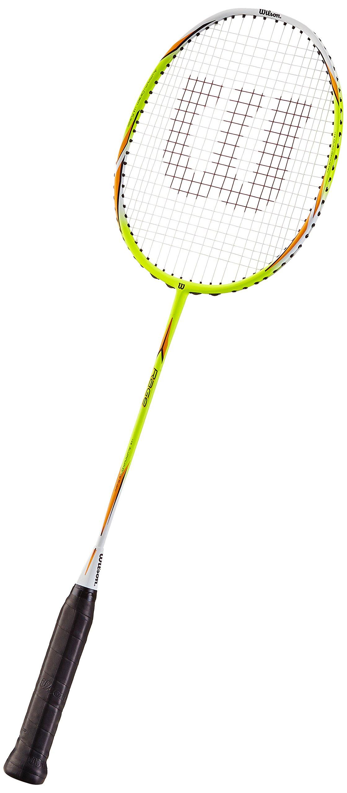 Wilson Rage 1/2 Raqueta de Badminton, Unisex Adulto, Neon / Rojo, 4