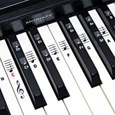 Klavier + Keyboard Noten-Aufkleber ★ [DEUTSCHE VERSION] für Instrumente mit 49 | 61 | 76 | 88 Tasten ★ Piano Sticker für weiße & schwarze Tasten + E-Book