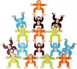 Toyzoo Wooden Stacking Games Monkeys Interlock Toys Balancing Blocks Educational Games for Kids