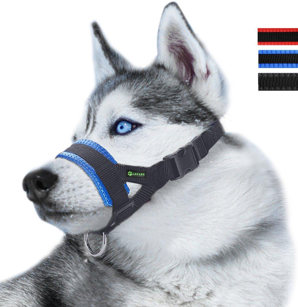 ILEPARK Bozal de Nylon para Perros Grandes Previene Mordidas Ladridos y Que Mastiquen