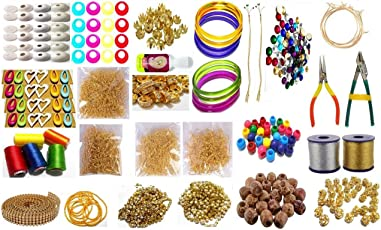Goelx Silk Thread Jewellery Making Premium Quality Kit, choose bangle size & silk thread color 50 Pair Jhumka Earring Base With Bali Ring, Jewellery Making Materials,Full Of Jewellery Making Items Including Stones & Beads, All Items Set With Silk Thread, Zari Thread, Stone Ball & Tools (26 Items)