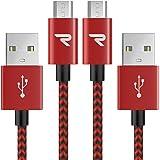 RAMPOW Câble Micro USB [3m/Lot de 2] Charge Rapide 2.4A - Câble USB en Nylon Tressé pour Samsung, Huawei, LG, Sony…