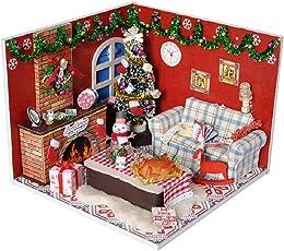 Cathy02Marshall Puppenhaus Mini DIY House Mit Licht als Kinder Weihnachten Geschenk