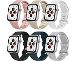 NAGAO 6PACK Correas Compatible con Apple Watch 38mm 42mm 40mm 44mm,Correa de Silicona Suave Pulseras de repuesto para iWatch