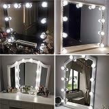 Vanity Spegellampor kit Hollywood-stil LED-sminklampor med 10 dimbara glödlampor för sminkbord med 5-nivåers justerbar ljusst