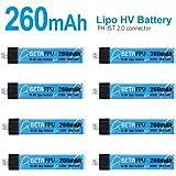 BETAFPV 8 Batteries 1S HV 260mAh 4.35V 30/60C JST2.0 pour Petit Drone tel Que Le Beta65
