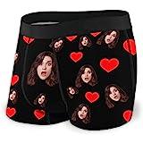 Nsipan Boxer da Uomo Personalizzati Stampa Mutande Shorts Intimo Personalizzato Love Heart con Foto Viso Cappello Natalizio n