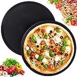 WENTS Plaques Rondes de Pizza Lot de 2 Plateaux 10 Pouces Multi-usages à Pizza Ronds en Acier Inoxydable pour Four à Pizza Ro