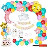 Ulikey Decoración de Cumpleaños Pastel para Niña, Cumpleaños Tema del Cielo con Pancarta de Happy Birthday, Arco Nubes Cielo