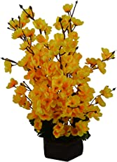 Thefancymart Artificial Cherry Blossom Flowers (Size 18 inchs/45 cms) with Wood Pot - AF-1359