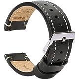 Brismassi Esetti Bracelets de Montre en Cuir à Libération Rapide - Bracelets pour Montres en Cuir Plat pour Hommes et Femmes,