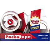 Packatape | Verpakking Tape Gun + 2x Fragiele Tape Roll 48mm x 60m | Pakket Tape Dispenser met Cutter, Tape Gun voor verpakki