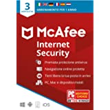 McAfee Internet Security 2020, 3 Dispositivi, 1 Anno, Software Antivirus, Mobile, Gestore Password, ...