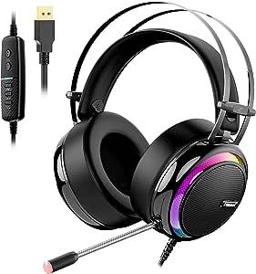 Tronsmart Cuffie da Gioco-Suono Surround 7.1-Cuffie Gaming per PS4-Glary-Cancellazione del Rumore Cuffie Over-ear con Microfono,Grandi Altoparlanti da 50mm/Cancellazione Rumore/ Suono Stereo
