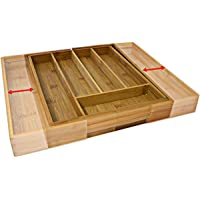 Relaxdays Organiseur de Tiroir pour la Cuisine Réglable 33,5x29-48x5 cm Range-Couverts Ajustable de 5 à 7 Compartiments…