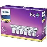 Philips ampoule LED Spot GU10 50W Blanc Chaud, Verre, Lot de 6