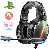 Cascos Gaming PS4, 4 Modos de Iluminación RGB y Orejeras Giratorias de 180°, Auriculares Estéreo Avanzados para Juegos con Mi